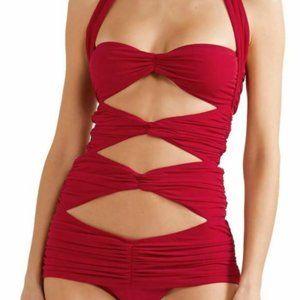 Norma Kamali $408 Peekaboo Mio Monokini Red CutOut